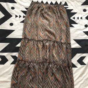 Olive and oak lined maxi skirt